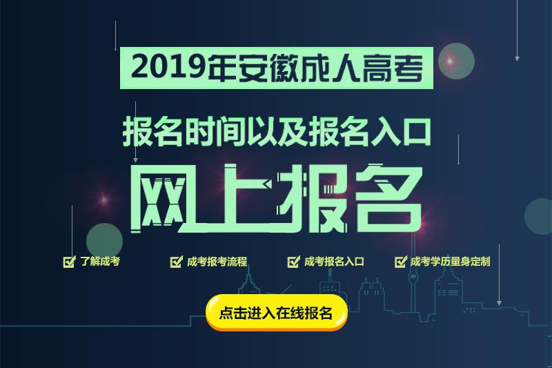 2019年安徽成人高考网上报名入口